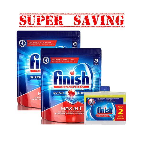 Finish74 &2pk Diswash Cleaner-Super Saving-1