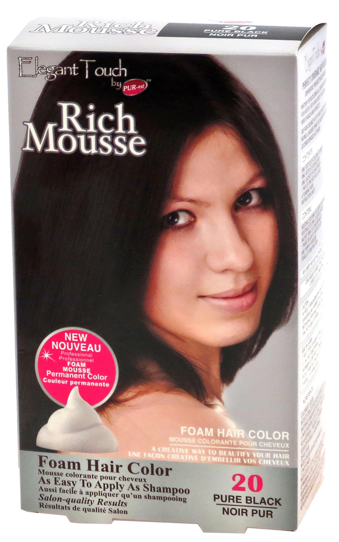 Foam Hair Color Rich Mousse Pure Black #20, Elegant Touch by PUR-est