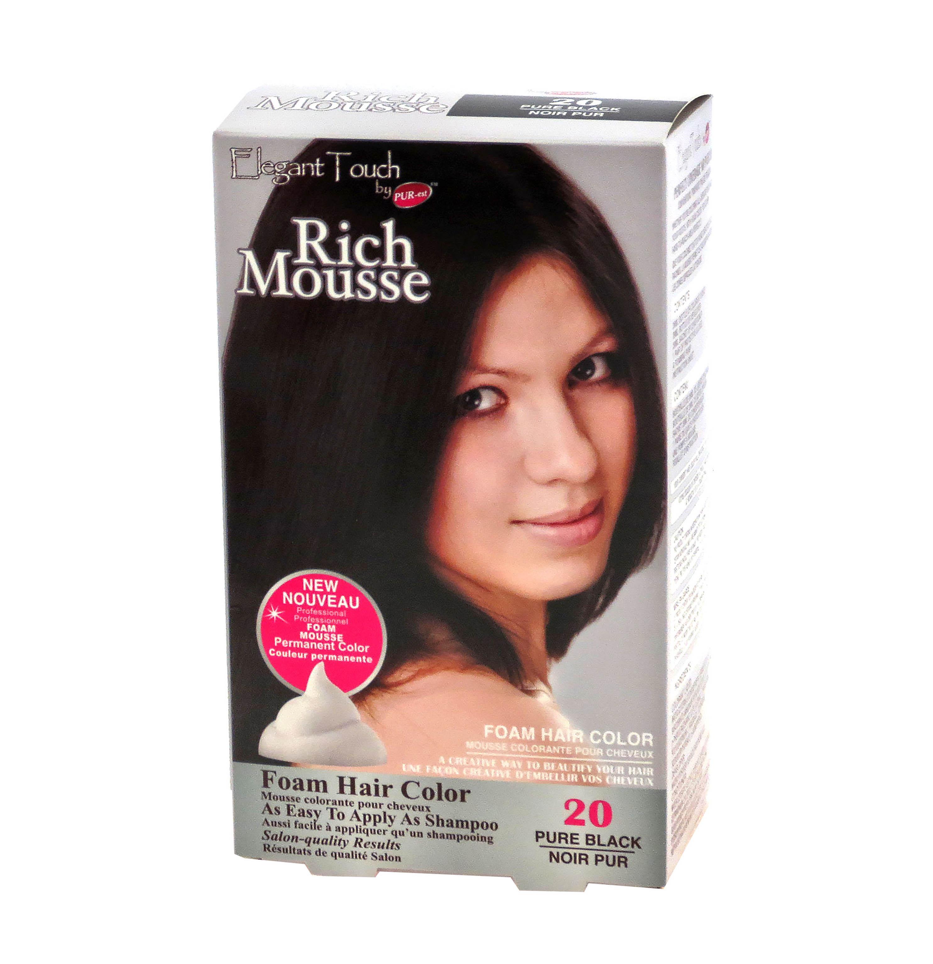 Foam Hair Color Rich Mousse Pure Black #20, Elegant Touch by PUR-est ...