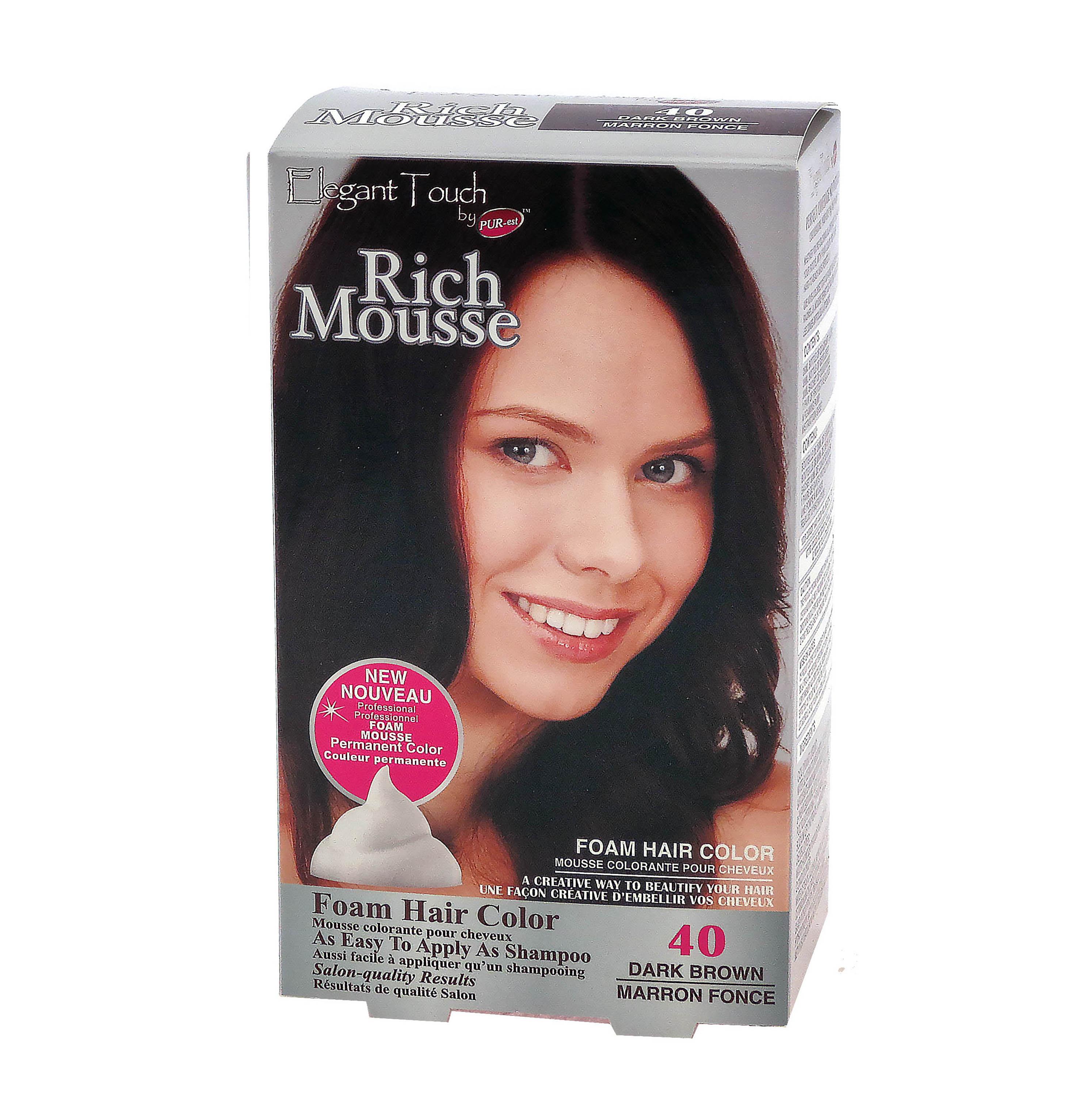 Foam Hair Color Rich Mousse Dark Brown #40, Elegant Touch by PUR-est