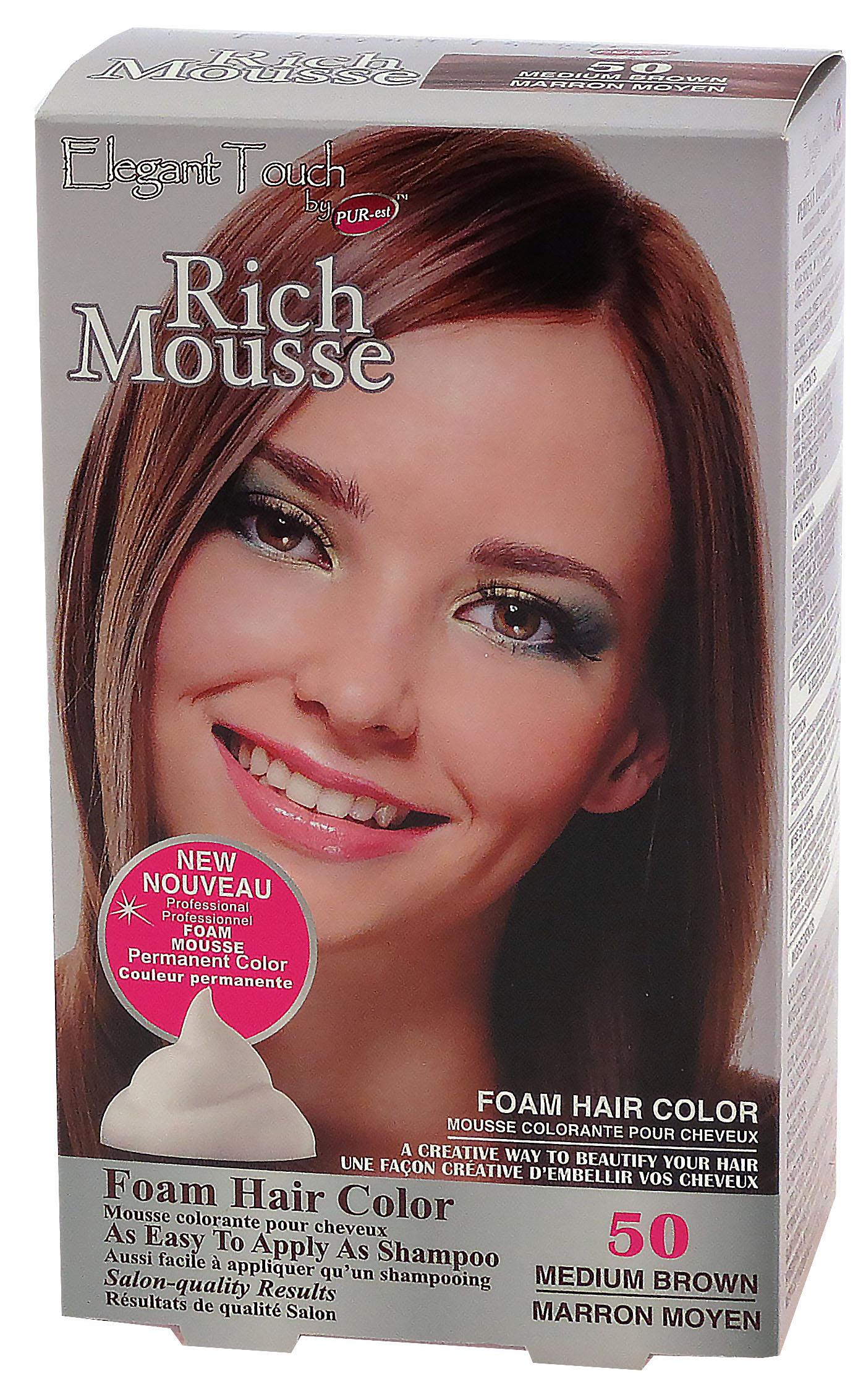 Foam Hair Color Rich Mousse Medium Brown #50, Elegant Touch by PUR ...