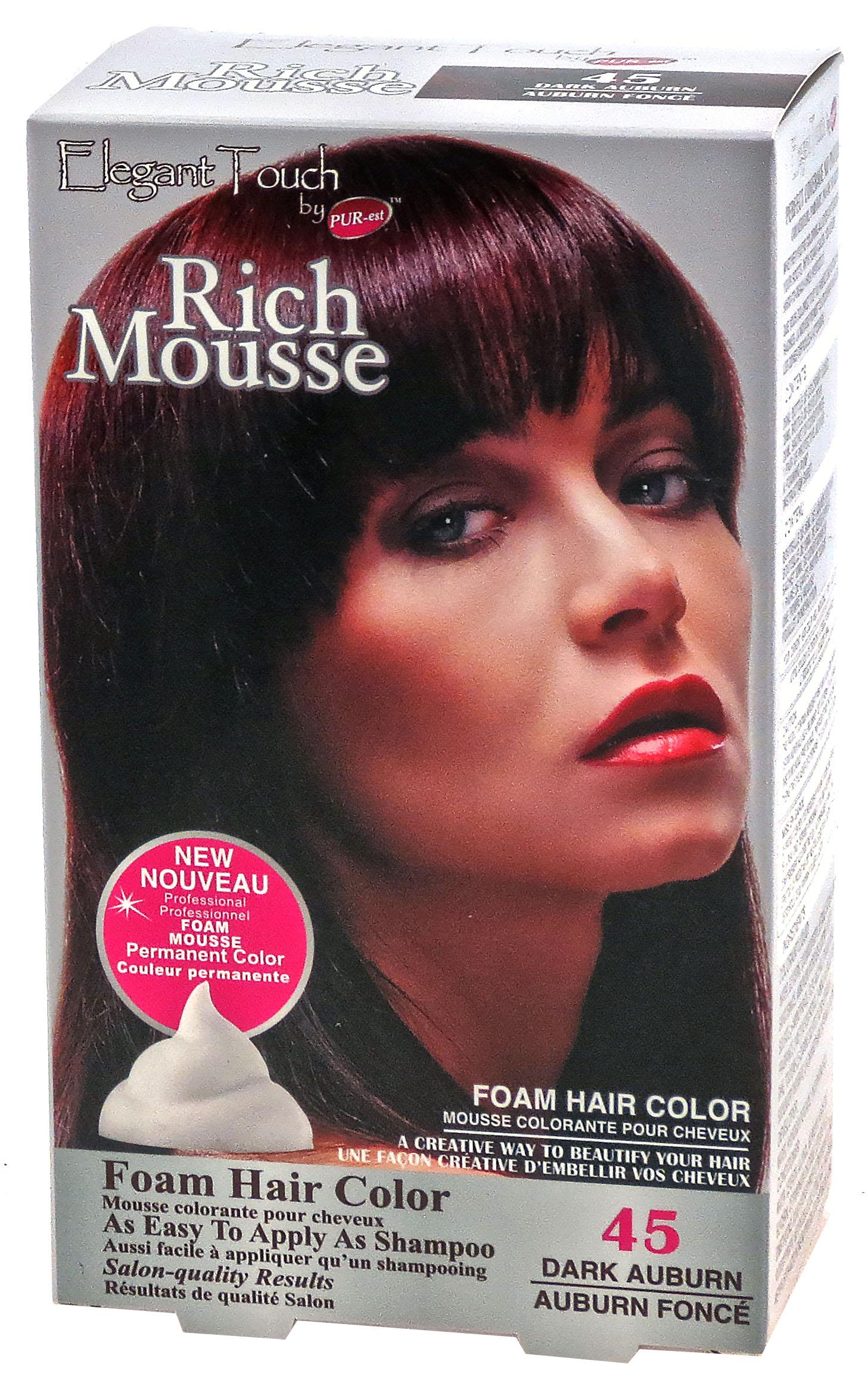Foam Hair Color Rich Mousse Dark Auburn #45, Elegant Touch by PUR ...
