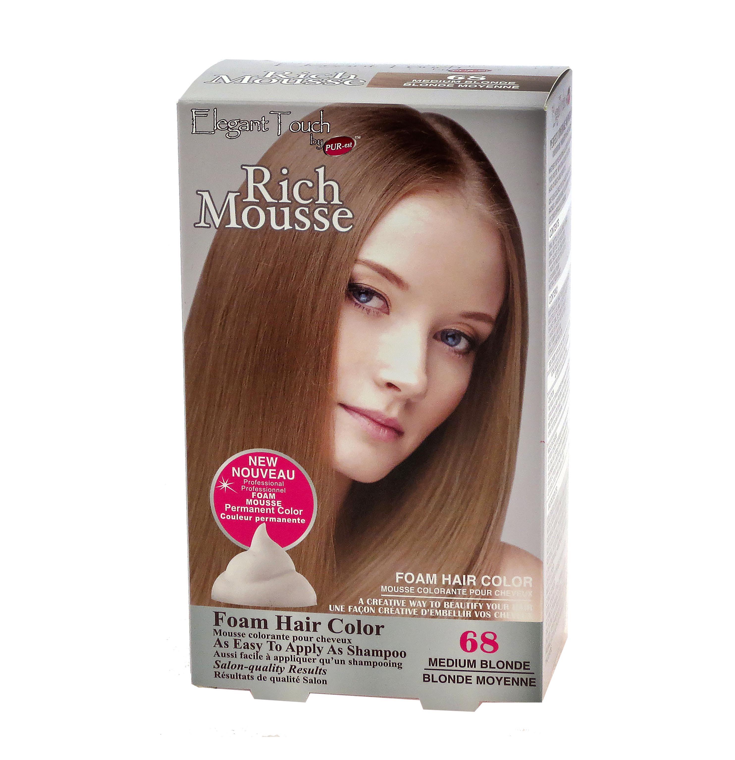Foam Hair Color Rich Mousse Medium Blonde #68, Elegant Touch by PUR ...