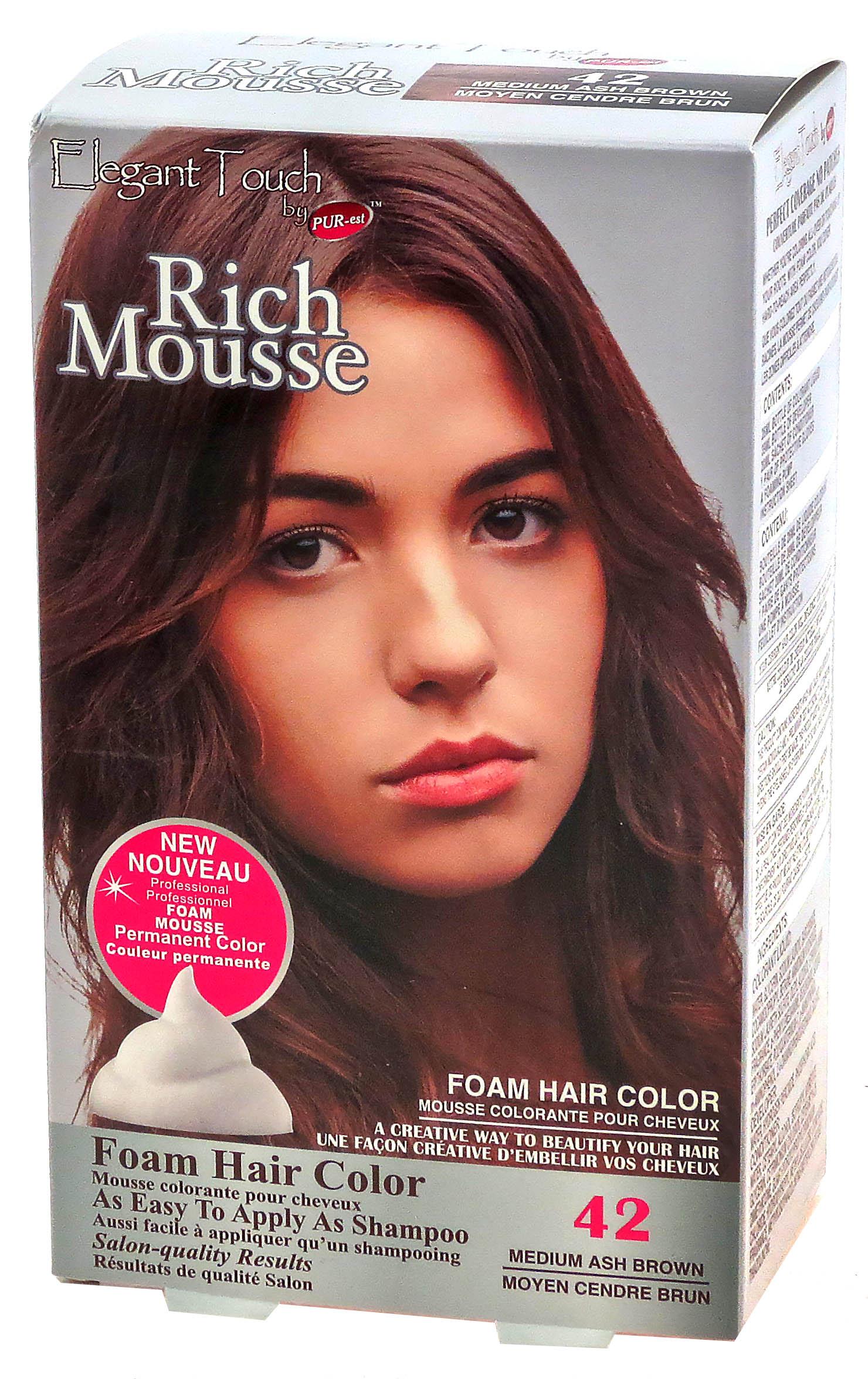 Foam Hair Color Rich Mousse Medium Ash Brown #42, Elegant Touch by PUR-est
