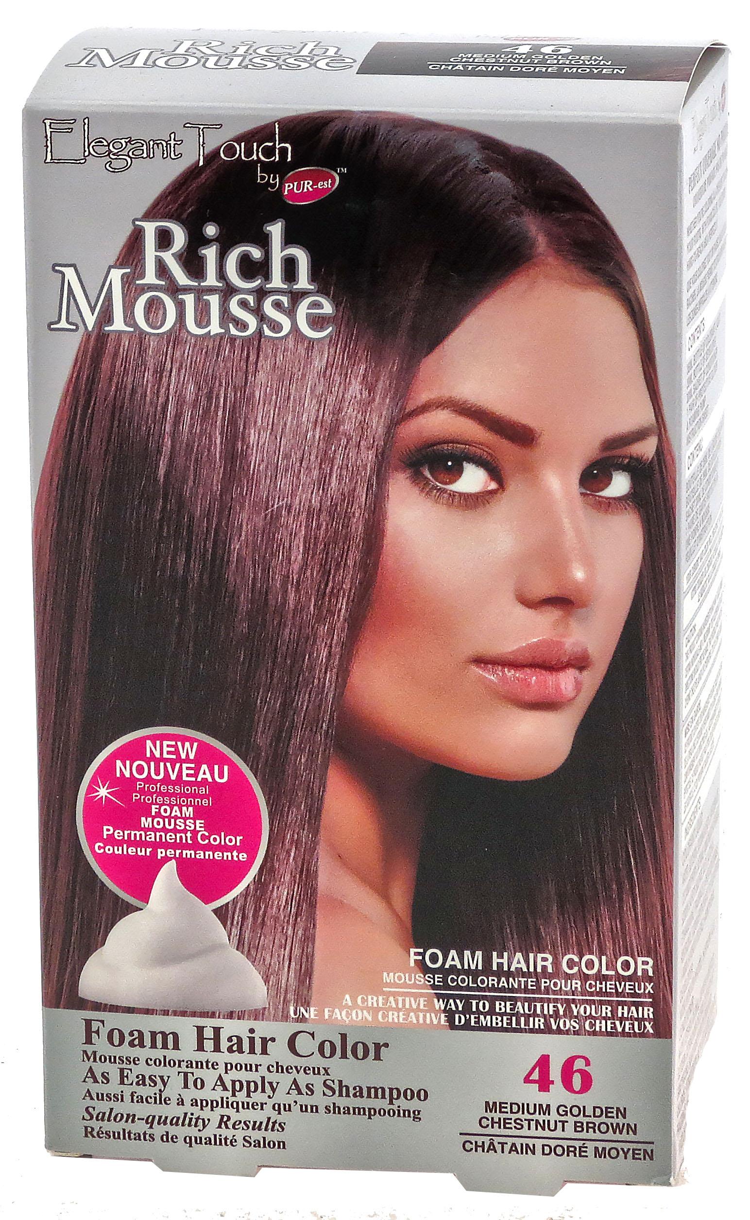 Foam Hair Color Rich Mousse Medium Golden Chestnut Brown #46 ...